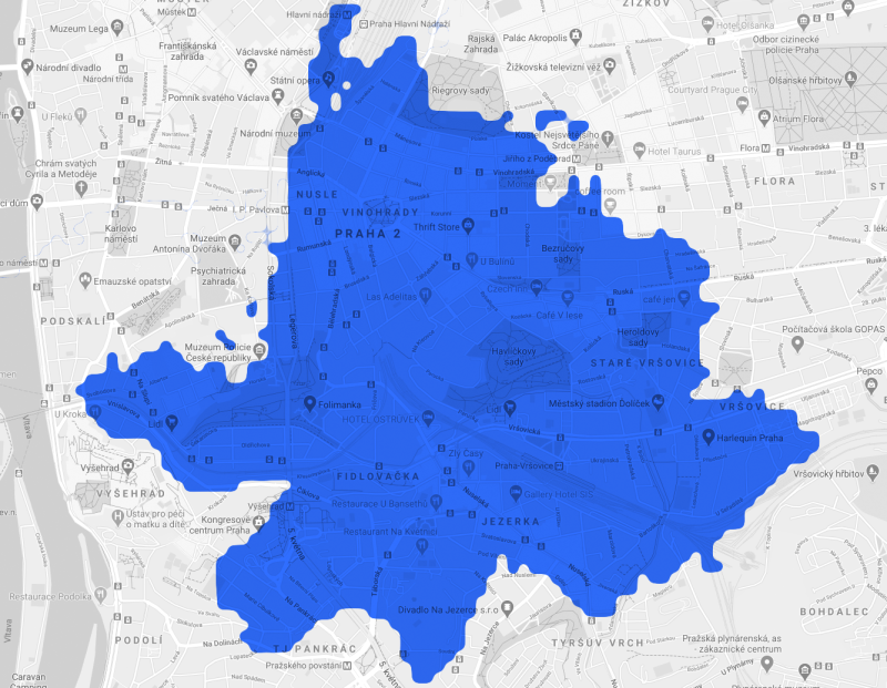 Pokrytí Prahy 5G sítí - Vinohrady a Nusle