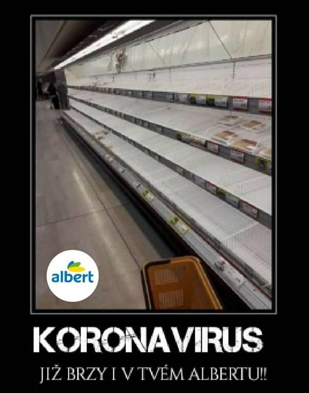 Koronavirus a panika kolem něj (včetně nákupní horečky) povzbudil tvorbu vtipů