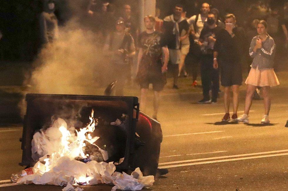 Protesty v běloruském Minsku proti výsledku voleb.