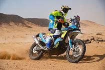 Motocyklový jezdec Martin Michek na Rallye Dakar 2020 v Saúdské Arábii.