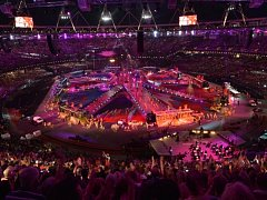 Slavnostní zakončení olympijských her v Londýně.