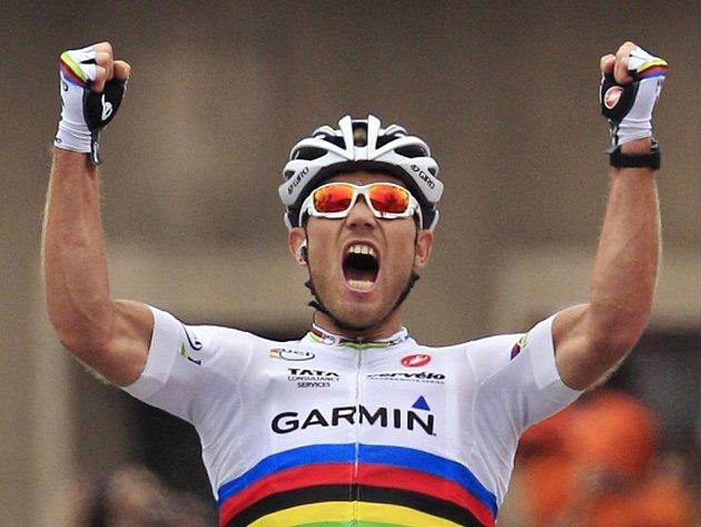 Thor Hushovd se raduje z etapového triumfu na Tour de France.
