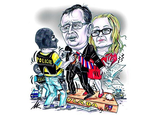 Nečas brání Nagyovou. Karikatura Deníku.