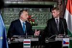 Premiér Andrej Babiš přivítal 30. listopadu v Praze maďarského premiéra Viktora Orbána.