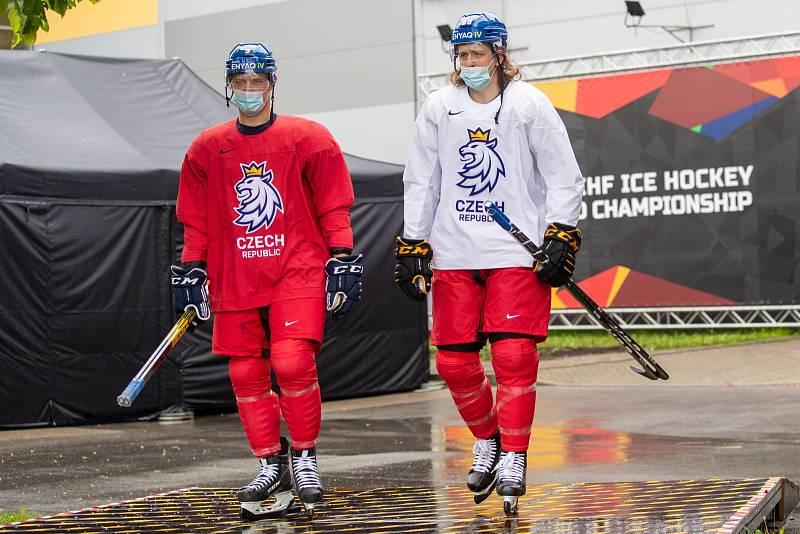 Čeští hokejisté (David Sklenička a Libor Šulák) cestou na trénink.