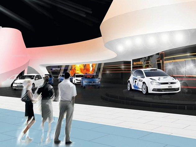 Expozice Volkswagenu na frankfurtském autosalonu 2013.