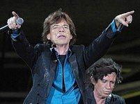 Rolling Stones během koncertu na brněnském výstavišti.