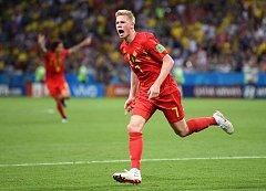 Kevin de Bruyne slaví gól do sítě Brazílie.