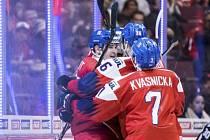 Čeští hokejisté do dvaceti let se na mistrovství světa radují z gólu.
