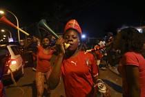 Fanoušci a jejich radost z postupu Rovníkové Guineje do semifinále