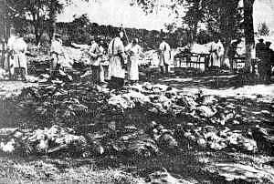 Německá komise pro vyšetření masakru ve Vinnycji v roce 1943 na místě činu
