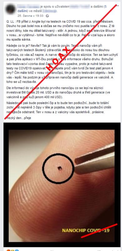 """""""Přítel se dal testovat a při stěru mu zavedly do nosní dírky nanočip,"""" tvrdí další hoax s fotografií údajného """"nanočipu"""""""