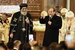 Egyptský prezident Abdal Fattáh Sísí a patriarcha koptské církve Tavadros II.