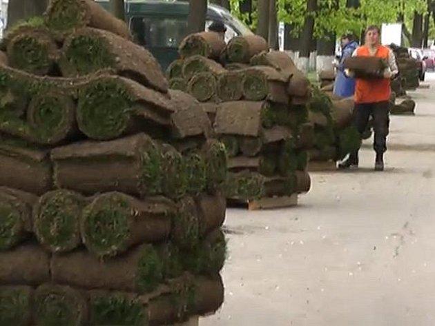 Pokládání trávníku v ruském Pskově.