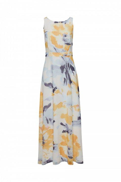 Šaty s květinovým vzorem doplňte páskem a kabelkou ve stejném odstínu. Esprit.