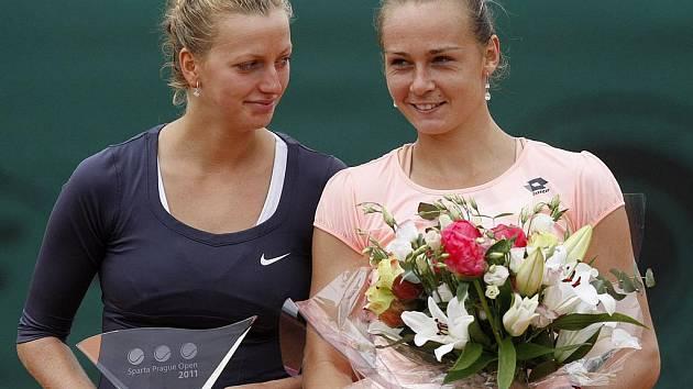 Dvě nejlepší tenistky Sparta Prague Open Petra Kvitová (vlevo) a Magdaléna Rybáriková.