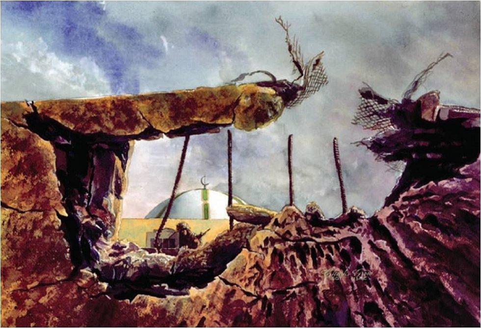 Vojáci 3. praporu americké námořní pěchoty na malbě zachycující vyčištění Chafdží