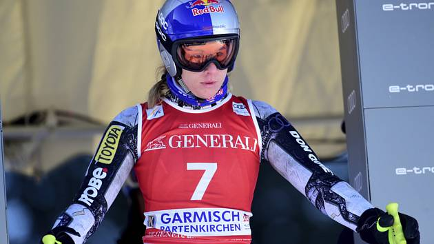 Česká lyžařka Ester Ledecká v tréninku na sjezd SP v Garmisch-Partenkirchenu