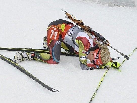 Gabriela Soukalová dojela vyčerpaná na třetím místě
