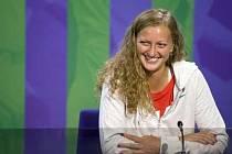 Petra Kvitová na tiskové konferenci ve Wimbledonu.