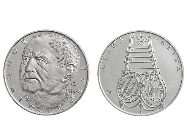 Česká národní banka vydává 26. března pamětní stříbrnou dvousetkorunu ke 100. výročí narození spisovatele Bohumila Hrabala.