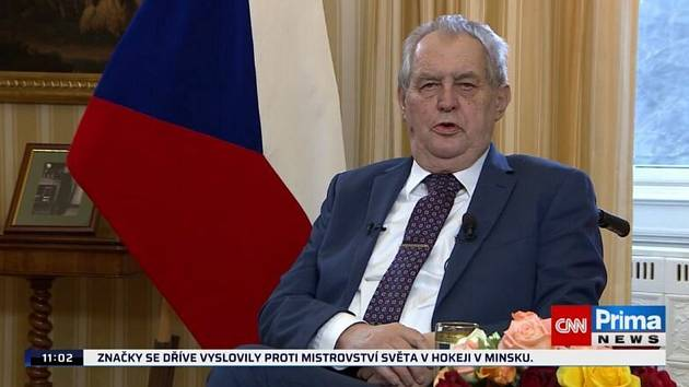 Prezident Miloš Zeman vystoupil 25. dubna 2021 v televizi Prima s projevem ke kauze Vrbětice