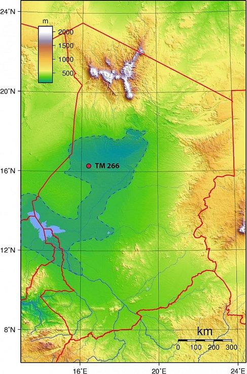 Místo nálezu na mapě Čadu