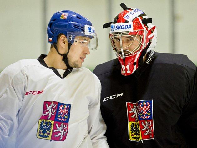 Hokejoví bratři na tréninku reprezentace: Jan (vlevo) a Jakub Kovářové.