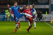 Zápas 14. kola první fotbalové ligy mezi týmy FC Slovan Liberec a FC Baník Ostrava se odehrál 18. listopadu na stadionu U Nisy v Liberci. Na snímku vlevo je Matěj Hybš.