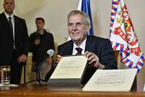 Český prezident Miloš Zeman na zahájení výstavy Doteky státnosti