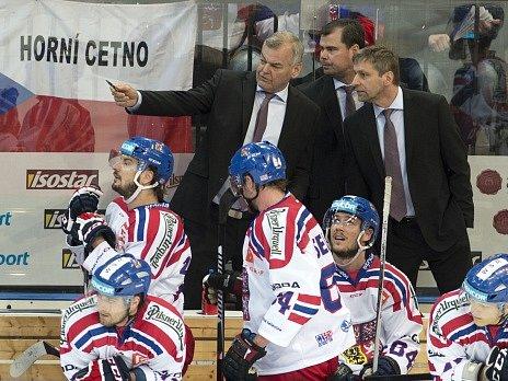 Trenéři české reprezentace (zprava) Josef Jandač, Jaroslav Špaček a Vladimír Vůjtek.