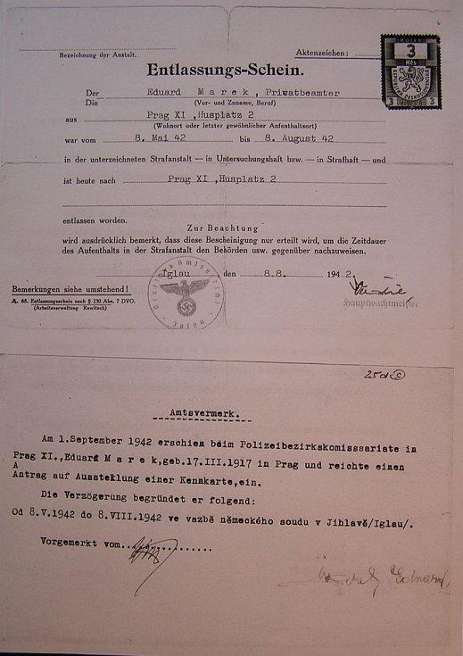 Propustka z německého vězení 1942