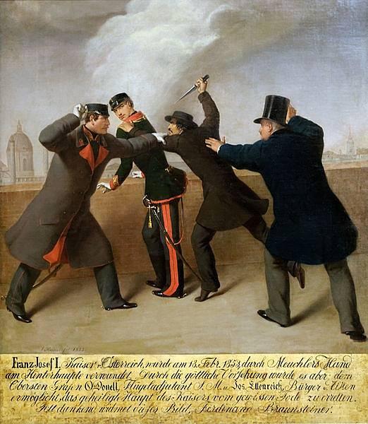 obraz neúspěšného atentátu na Františka Josefa