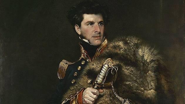 James Clark Ross, který objevil severní magnetický pól, na obrazu Johna R. Wildmana
