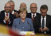 Angela Merkelová po oznámení výsledků
