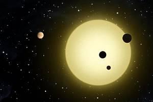 Umělecké ztvárnění šestice planet obíhajících hvězdu jménem Kepler-11, která připomíná naše Slunce