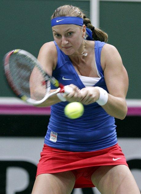 Petra Kvitová vprvním kole Fed Cupu proti Austrálii.
