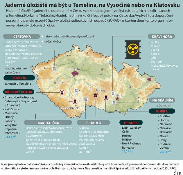 Jaderné úložiště má být uTemelína, na Vysočině nebo na Klatovsku. Grafický přehled možných úložišť jaderného odpadu na území ČR
