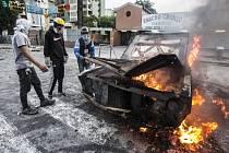 Demonstrace ve Venezuele.