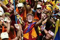 Demonstrace proti čínské politice v Tibetu.
