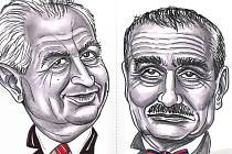 Miloš Zeman a Karel Schwarzenberg na karikatuře Milana Kounovského