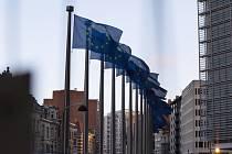 Vlajky Evropské unie před sídlem EU v Bruselu na snímku z 16. října 2019