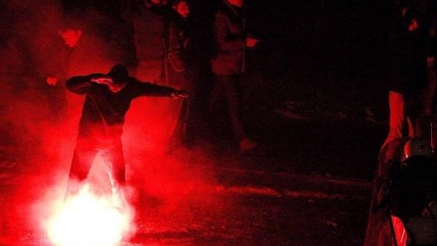Střety horníků s policií v Polsku.