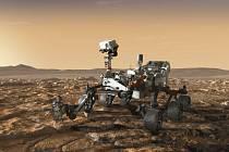 Umělecká představa pohybu robotického vozítka Perseverance po povrchu Marsu