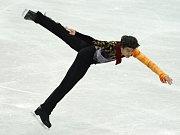 Stephane Lambiel při krátkém programu na mistrovství světa v Göteborgu.