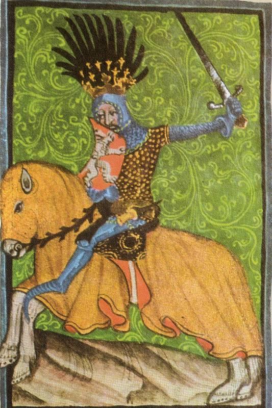 jezdecký portrét Jana Lucemburského v Gelnhausenově kodexu