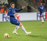 První utkání čtvrtfinále Evropské ligy mezi Slavií a Chelsea. Andreas Christensen.