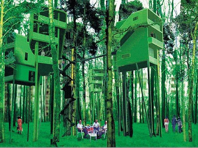 Stromové domy. Originální projekt bytových buněk z berlínského Ateliéru Raumlabor.