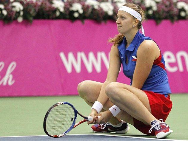 Petra Kvitová ve finále Fed Cupu v Moskvě.