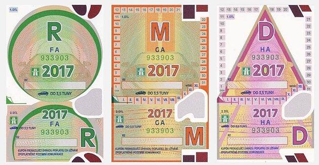 Dálniční známky pro rok 2017.